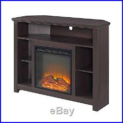 Corner Media Console Fireplace Electric Insert Heater Wood 60in TV Storage Stand