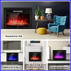 Costway 28.5 Electric Fireplace Embedded Insert Heater Glass Log Flame Remote