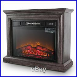 Cozy Living Room Fire Portable Electric Insert Fireplace Heater 1400 Watt, Gray