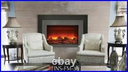 Deep Insert Electric 30 Fireplace with Black Steel Surround & Overlay