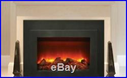 Deep Insert Electric 34 Fireplace with Black Steel Surround & Overlay