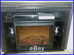 Dimplex Electric Fireplace Insert with Black Cabinet with Mantle