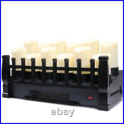 Electric Candle Fireplace Infrared Heat Insert 1500W Space Heater with Remote
