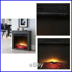 Electric Fireplace 23 in. Compact Freestanding in Black with Built-In Insert
