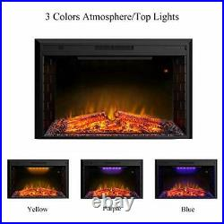 Electric Fireplace, 43 Inches Electric Fireplace Heater Insert 43L27H Black