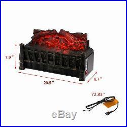 Electric Fireplace 4600 BTU Insert Artificial Heater Log Portable Black LED Log