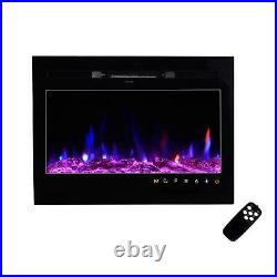 Electric Fireplace 50 36 Recessed Ultra Thin Wall Mounted Heater Flame Insert