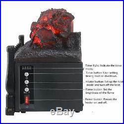 Electric Fireplace 5200 BTU Insert Artificial Heater Log Portable Black LED Log
