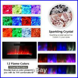 Electric Fireplace Freestanding Insert 36 Inch Wall Mount Heater RC Colored New