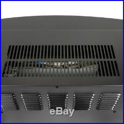 Electric Fireplace Freestanding Room Warmer Insert Heater Black Curved Temper