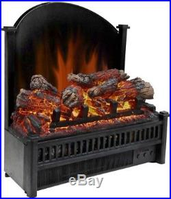 Electric Fireplace Heater Insert Log LED Realistic Flame Adjustable Thermostat