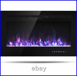 Electric Fireplace Heater Insert Wall Mount Stand with Remote Control 36in 1500W