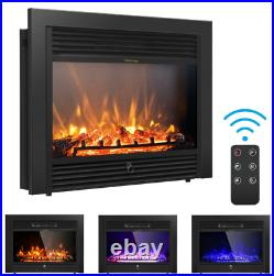 Electric Fireplace Heater Insert Wall Mount Stand with Remote Control Black Safe