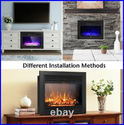 Electric Fireplace Heater Insert Wall Mount Stand with Remote Control Safe