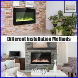Electric Fireplace Heater Insert Wall Mount Stand with Remote Control Safe 36in