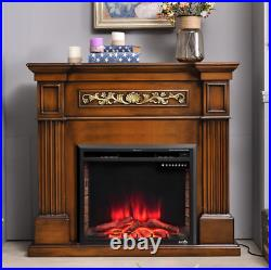 Electric Fireplace Heater Insert Wall Mount Stand with Remote Control Safe Black
