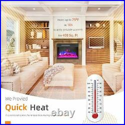 Electric Fireplace Heater Insert WiFi Control Wall Mounted Work with Alexa 28.8