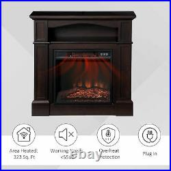 Electric Fireplace Heater with Wood Mantel, Firebox with Fireplace Insert Brown