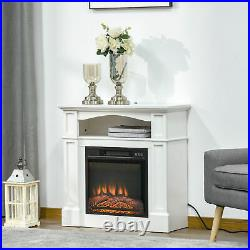 Electric Fireplace Heater with Wood Mantel, Firebox with Fireplace Insert White