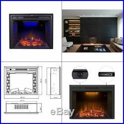 Electric Fireplace Insert 30 Remote Control Log Speaker 750/1500W