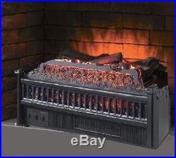 Electric Fireplace Insert Artificial Heater Log Portable RC 4600 BTU LED Log Set
