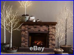 Electric Fireplace Insert Artificial Heater Log Portable RC 4600 BTU LED Log Set