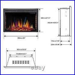 Electric Fireplace Insert, Built- in Recessed Electric Stove Heater, Glass 39