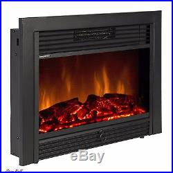 Electric Fireplace Insert Embedded Smokeless Heater Glass View Log Flame Remote