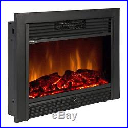 Electric Fireplace Insert Embedded Ventless Glass View Log Flame with Remote NEW