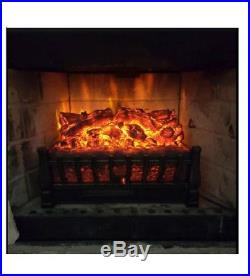 Electric Fireplace Insert Faux Burning Log Flame Heater Firebox With Remote LED