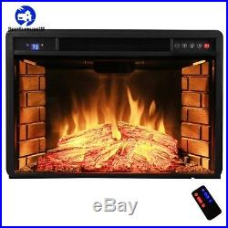 Electric Fireplace Insert Heater 28in Freestanding Tempered Glass Remote Control