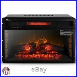 Electric Fireplace Insert Heater Classic Black Frame Home Kitchen Remote DELLA