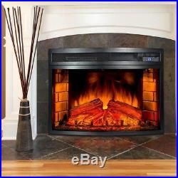Electric Fireplace Insert Heater Curved Warm Glow Heating Remote Fake Log Flame