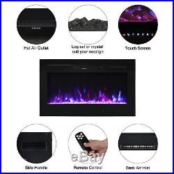 Electric Fireplace Insert Heater Glass View Adjustable LED Flame Remote Control