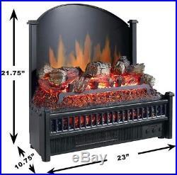 Electric Fireplace Insert Heater Heat Logs Log Fire Remote Control Fan Plug In