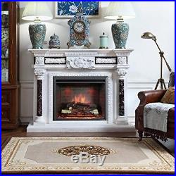Electric Fireplace Insert Heater LED 30 Logs Adjustable Temperature Remote NEW