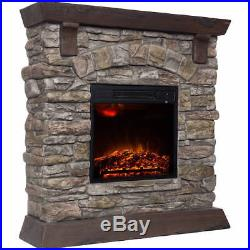Electric Fireplace Insert Heater Portable With 38 Mantle Remote Control Stone