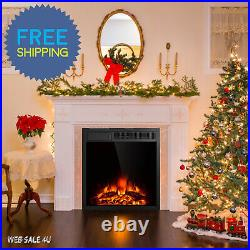 Electric Fireplace Insert Heater Realistic 3D Log Flame Remote Control Mount In