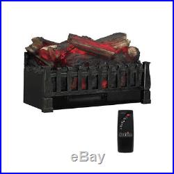 Electric Fireplace Insert Heater Realistic Fire Log Set Artificial Remote Accent
