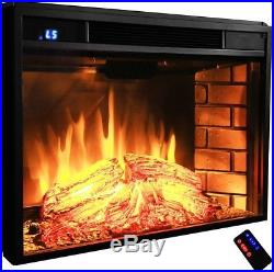 Electric Fireplace Insert Heater Tempered Glass Remote Control Adjustable Flame