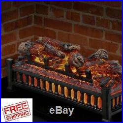 Electric Fireplace Insert Logs Heater Crackling Sound Faux Glowing Flame LED