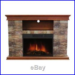 Electric Fireplace Insert Stone Slate Heater TV Stand Mantel Media Center Modern