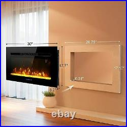 Electric Fireplace Insert Wall Mounted 30'' Fireplace Heater Touch Screen 1500W