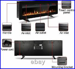 Electric Fireplace Insert Wall Mounted Freestanding Heater with Remote Control