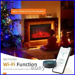 Electric Fireplace Insert WiFi Control, Retro Recessed Fireplace Heater Electric