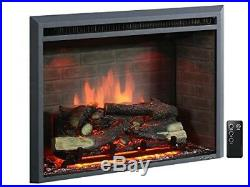 Electric Fireplace Insert with Remote Control, 750/1500W, Black 33 Western