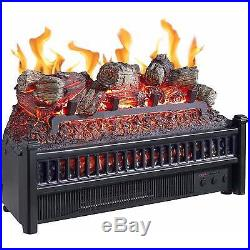 Electric Fireplace Logs Insert Crackling Heater With Remote Faux Flame Grate