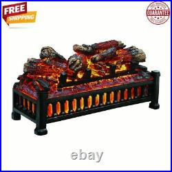 Electric Fireplace Logs Insert Unit Wood LED Flame Hearth, Black