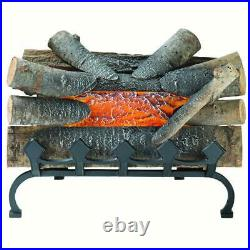 Electric Fireplace Logs With Grate Crackling Glowing Wood Burning Insert Decor