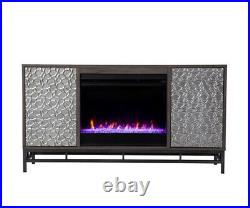 Electric Fireplace Recess Insert Flame Color Remote Heat TV Stand Table LED Stor